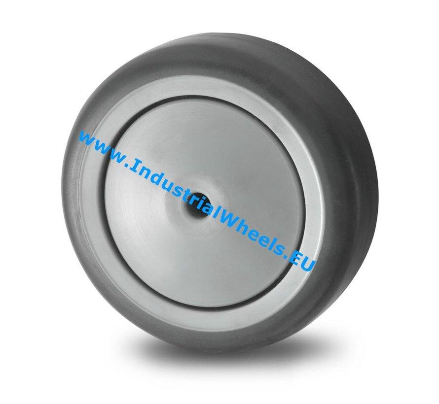 Ruedas para colectividades Rueda goma termoplástica gris no deja huella, cojinete de bolas de precisión, Rueda-Ø 75mm, 75KG