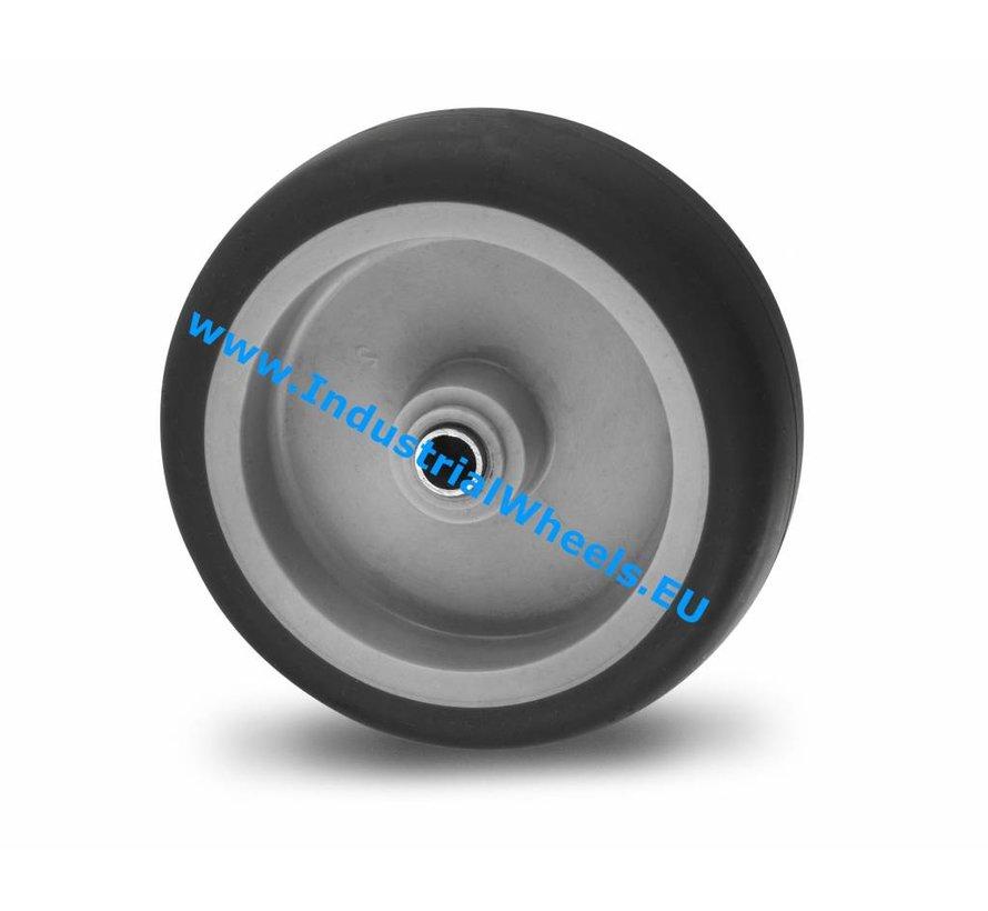 Roulettes pour collectivités Roue de caoutchouc thermoplastique gris non tachant, moyeu lisse, Roue-Ø 75mm, 75KG