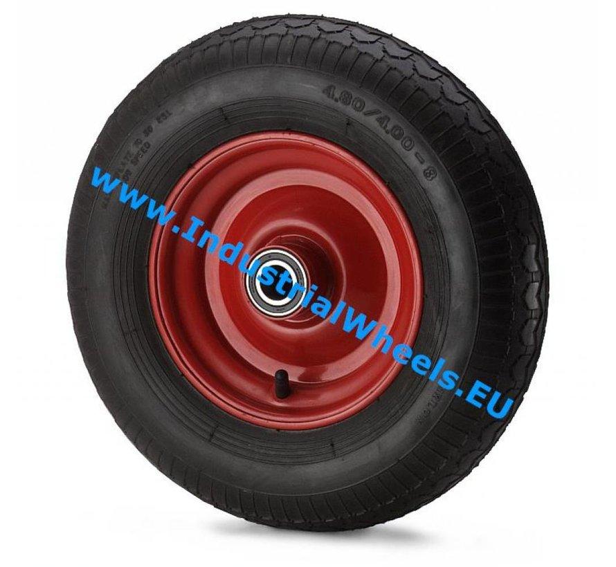 Roulettes industrielles Roue de pneumatique profil pavé, roulements à billes de précision, Roue-Ø 405mm, 400KG