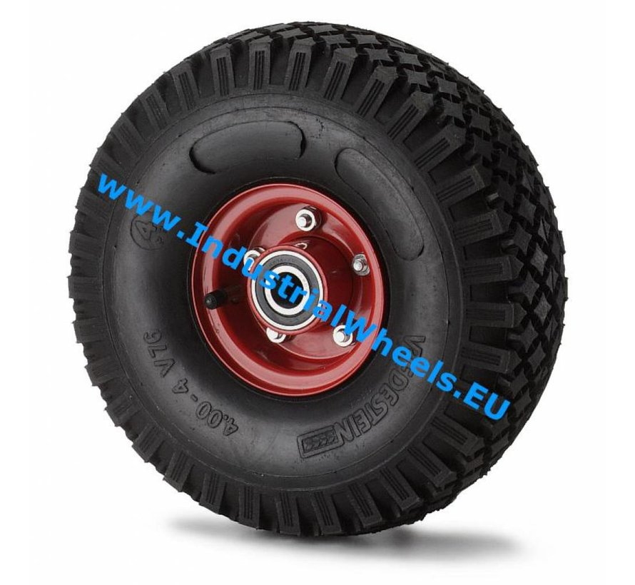 Roulettes industrielles Roue de pneumatique profil pavé, roulements à billes de précision, Roue-Ø 300mm, 300KG
