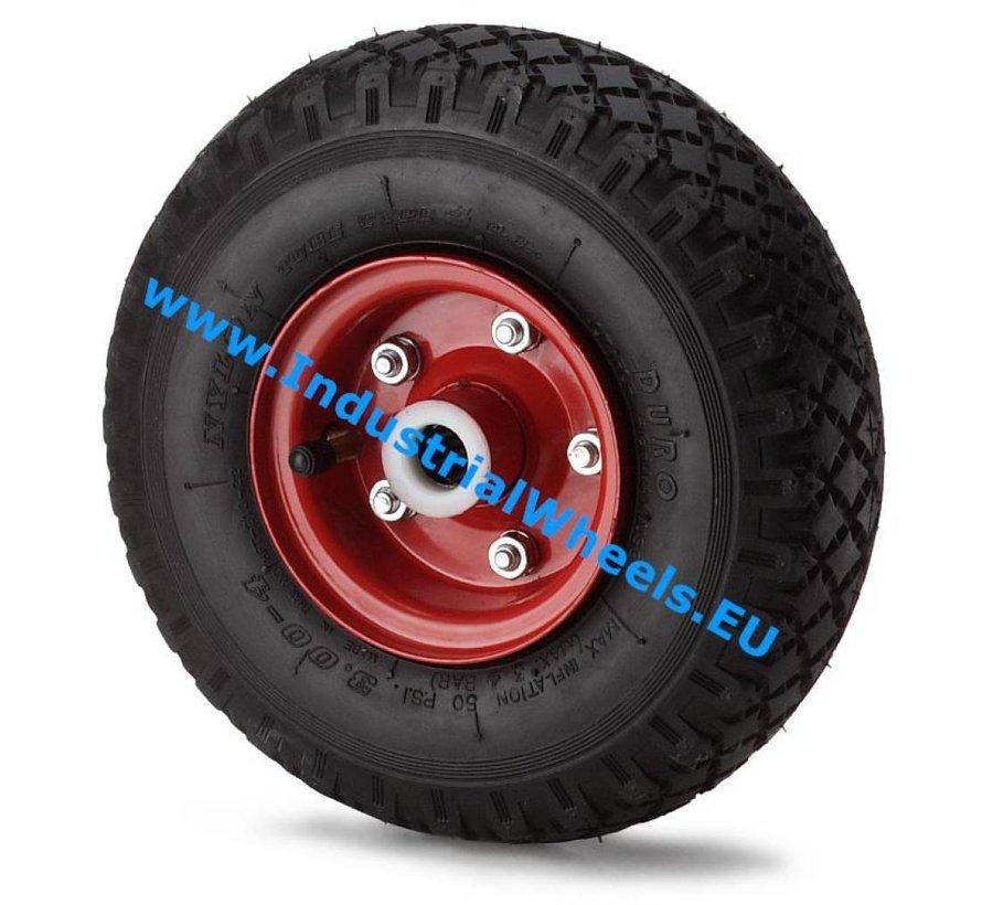 Carrelli per Movimentazione Industriale Ruota gomma pneumatica profilo scolpito, mozzo su cuscinetto, Ruota -Ø 260mm, 210KG