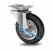 Drejeligt hjul, Ø 200mm, Massiv sort gummi, 250KG