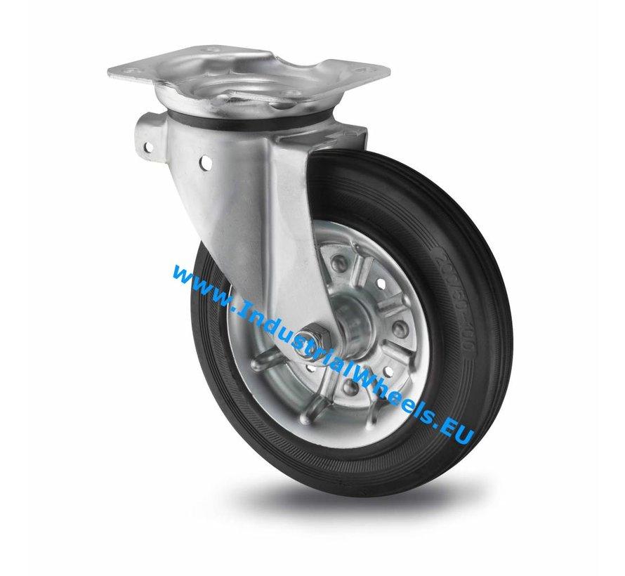 Industrial Swivel caster from pressed steel, plate fitting, rubber, black, roller bearing, Wheel-Ø 200mm, 250KG