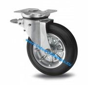 Swivel caster with brake, Ø 200mm, rubber, black, 250KG