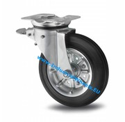 Swivel caster with brake, Ø 200mm, rubber, black, 250KG