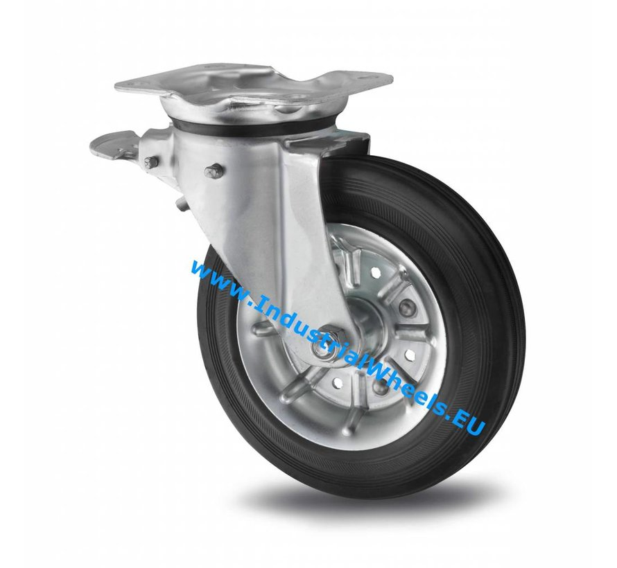 Industrial Swivel caster with brake from pressed steel, plate fitting, rubber, black, roller bearing, Wheel-Ø 200mm, 250KG
