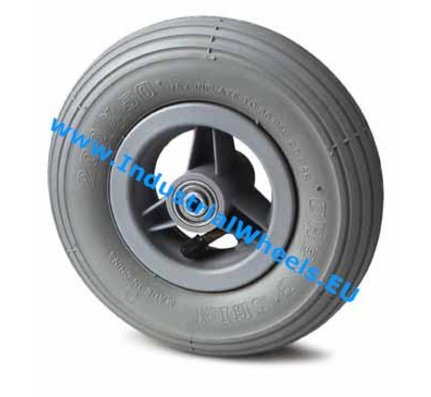 Institutional Wheel from pneumatic tyre with rip profile, precision ball bearing, Wheel-Ø 150mm, 75KG