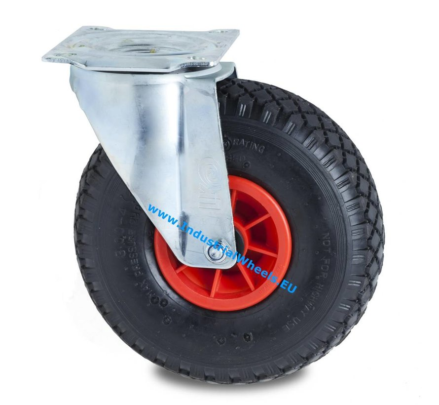 Industrial Swivel caster from pressed steel, plate fitting, pneumatic tyre block profile, plain bearing, Wheel-Ø 260mm, 150KG