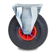 Fixed caster, Ø 260mm, pneumatic tyre block profile, 150KG