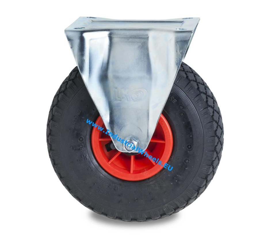 Industrial Fixed caster from pressed steel, plate fitting, pneumatic tyre block profile, plain bearing, Wheel-Ø 260mm, 150KG