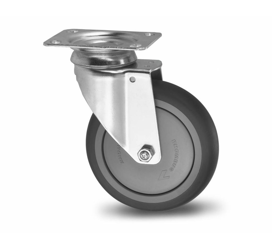 Institutional Swivel caster from pressed steel, plate fitting, thermoplastic rubber grey non-marking, precision ball bearing, Wheel-Ø 125mm, 100KG