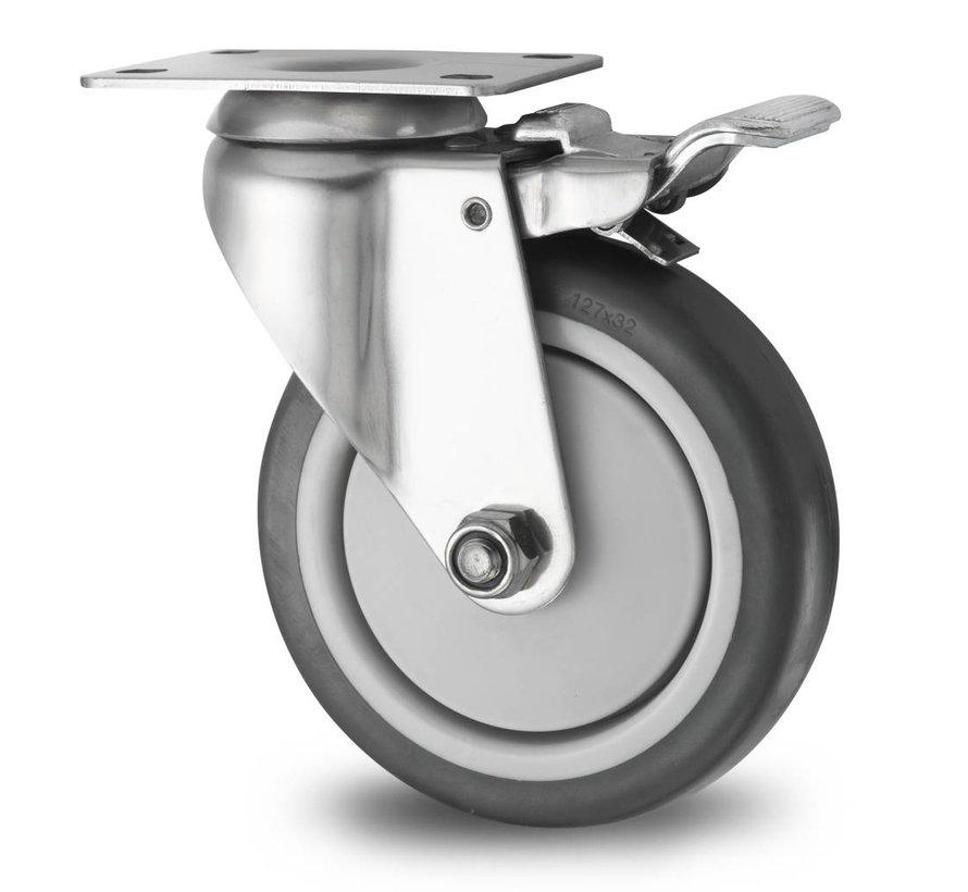 Ruote per collettività acciaio inox Ruota girevole con freno acciaio inox stampata, attacco a piastra, gomma termoplastica grigia antitraccia, mozzo su cuscinetto, Ruota -Ø 125mm, 100KG