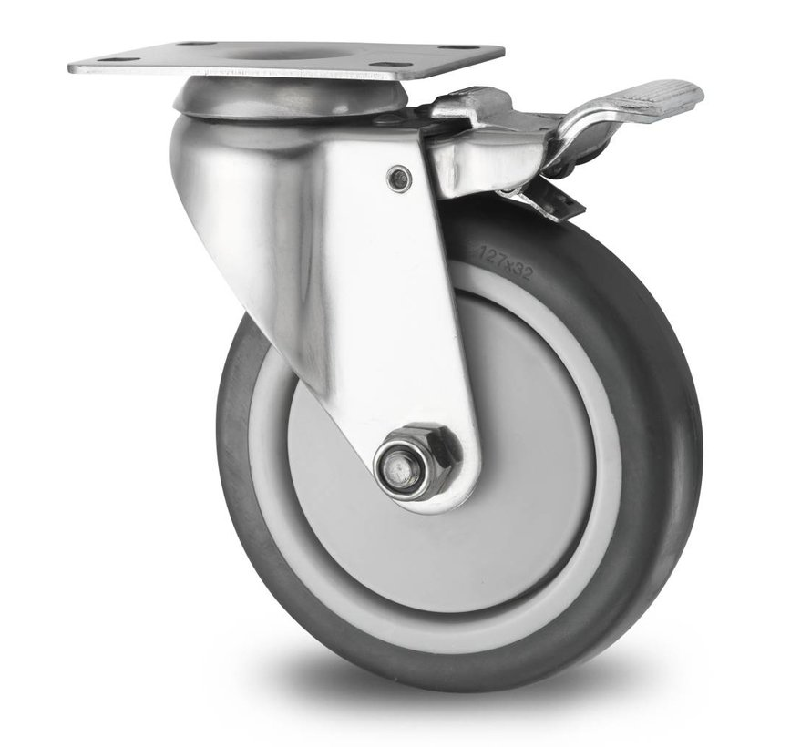 Stainless Steel Industrial Swivel caster with brake from Stainless Steel Pressed, plate fitting, thermoplastic rubber grey non-marking, precision ball bearing, Wheel-Ø 125mm, 100KG