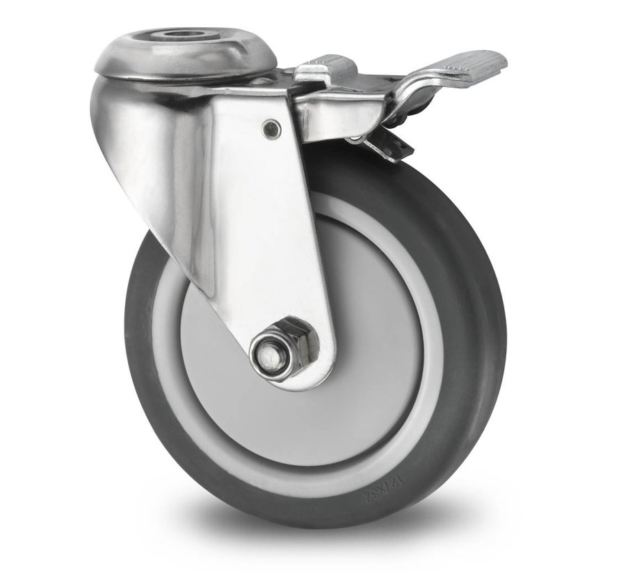 Stainless Steel Industrial Swivel caster with brake from Stainless Steel Pressed, bolt hole, thermoplastic rubber grey non-marking, precision ball bearing, Wheel-Ø 100mm, 80KG