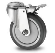 Drejeligt hjul bremse, Ø 125mm, grå termoplastisk gummi afsmitningsfri, 80KG