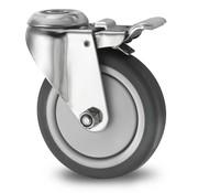 Roulette pivotante avec blocage, Ø 125mm, caoutchouc thermoplastique gris non tachant, 80KG