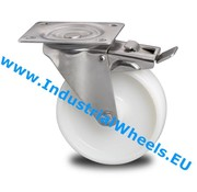 Swivel caster with brake, Ø 200mm, Polyamide wheel, 300KG