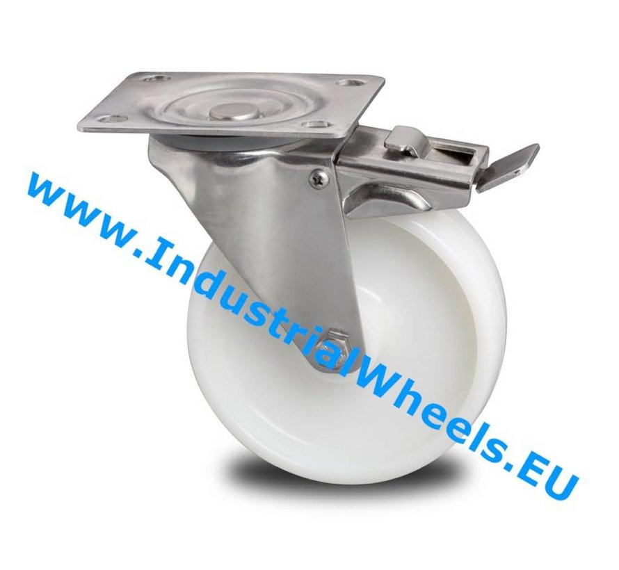Stainless Steel Swivel caster with brake from Stainless Steel Pressed, plate fitting, Polyamide wheel, roller bearing Stainless Steel, Wheel-Ø 200mm, 300KG