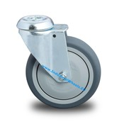 Swivel caster, Ø 125mm, thermoplastic rubber grey non-marking, 100KG
