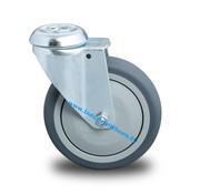 Roulette pivotante, Ø 125mm, caoutchouc thermoplastique gris non tachant, 100KG