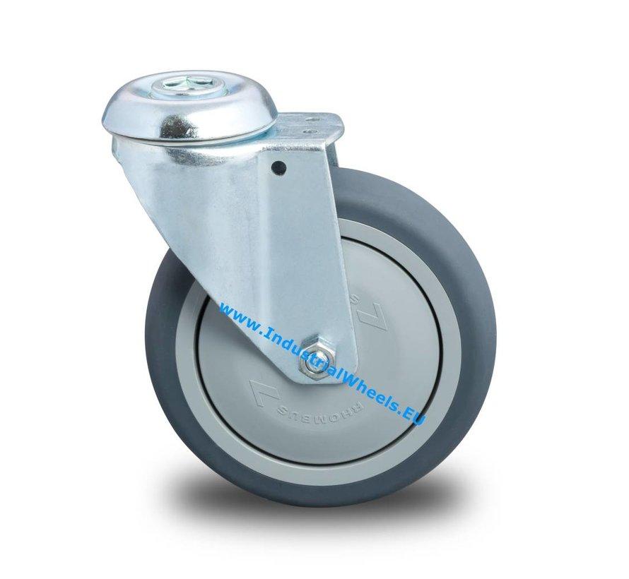 Ruedas para colectividades Rueda giratoria chapa de acero, agujero pasante, goma termoplástica gris no deja huella, cojinete de bolas de precisión, Rueda-Ø 150mm, 120KG