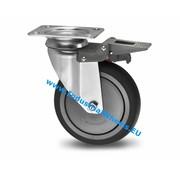 Lenkrolle mit Feststeller, Ø 80mm, Thermoplastischer Gummi grau-spurlos, 100KG