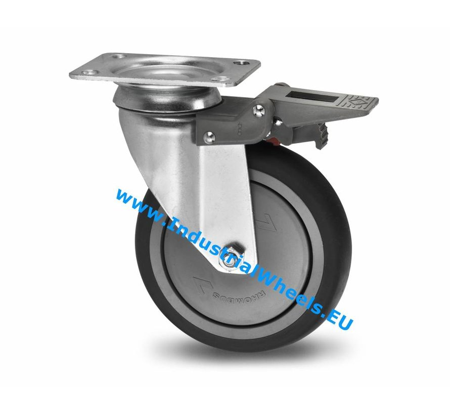 Institutional Swivel caster with brake from pressed steel, plate fitting, thermoplastic rubber grey non-marking, precision ball bearing, Wheel-Ø 80mm, 100KG