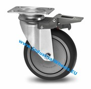 Swivel caster with brake, Ø 150mm, thermoplastic rubber grey non-marking, 120KG