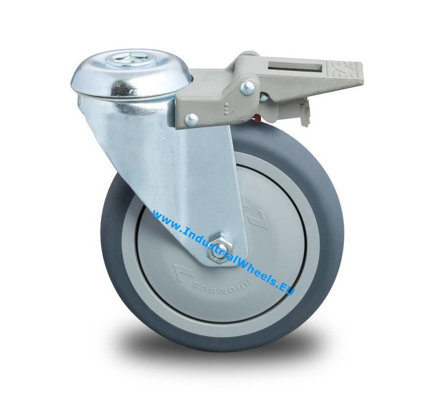 Roulettes pour collectivités Roulette pivotante avec blocage de acier embouti, Trou central, caoutchouc thermoplastique gris non tachant, roulements à billes de précision, Roue-Ø 80mm, 100KG