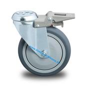Drejeligt hjul bremse, Ø 100mm, grå termoplastisk gummi afsmitningsfri, 100KG