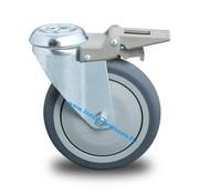 Rueda giratoria con freno, Ø 100mm, goma termoplástica gris no deja huella, 100KG