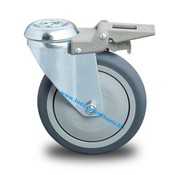 Swivel caster with brake, Ø 125mm, thermoplastic rubber grey non-marking, 100KG