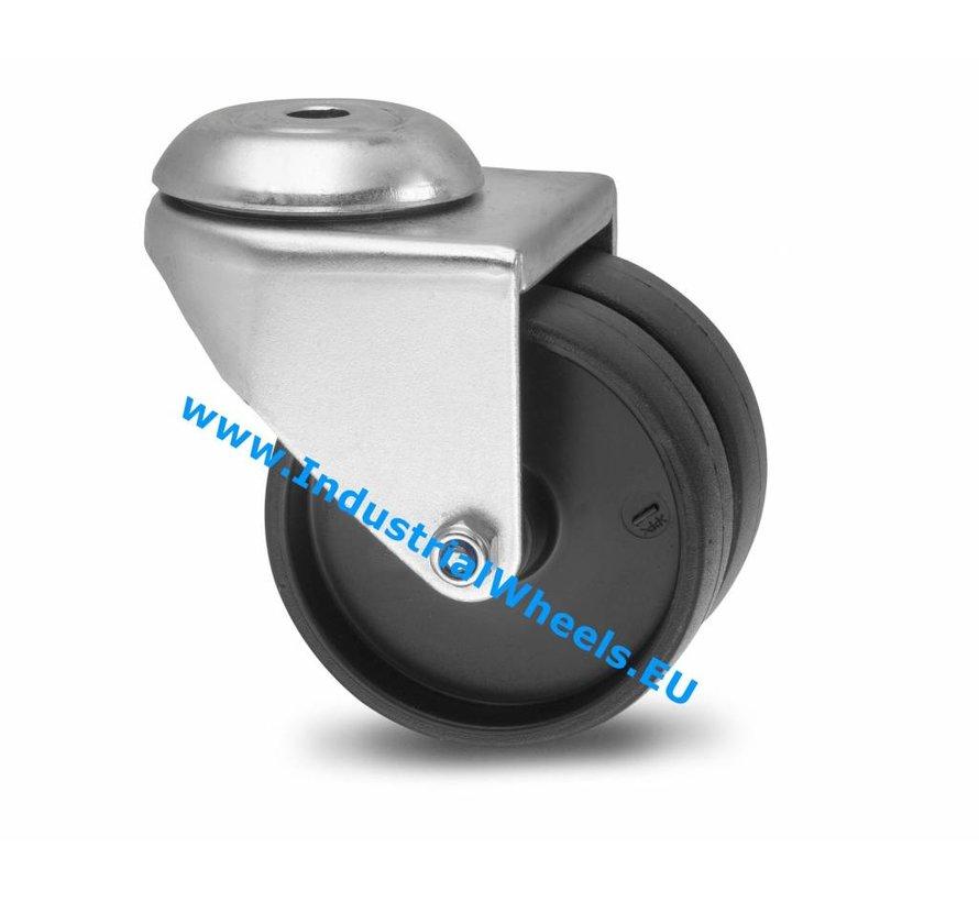 Institutional Swivel caster from pressed steel, bolt hole, Polypropylene Wheel, plain bearing, Wheel-Ø 50mm, 80KG