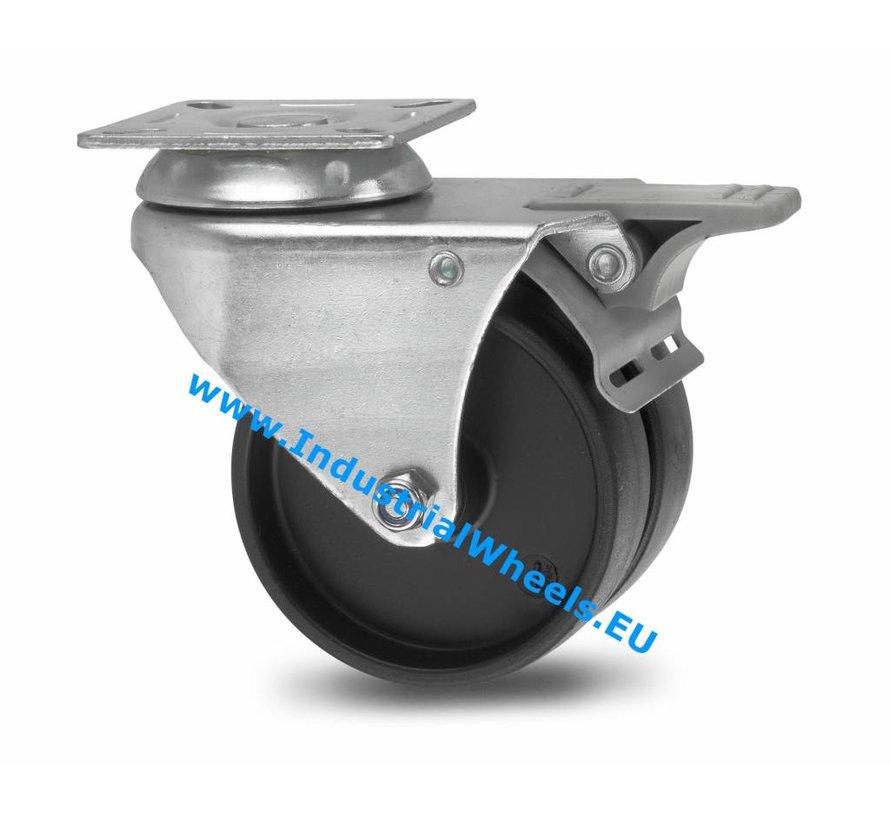Institutional Swivel caster with brake from pressed steel, plate fitting, Polypropylene Wheel, plain bearing, Wheel-Ø 50mm, 80KG