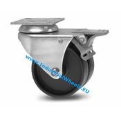 Swivel caster with brake, Ø 75mm, Polypropylene Wheel, 100KG