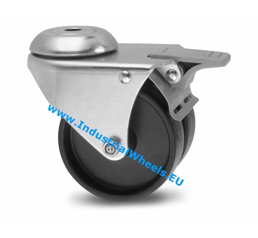 Institutional Swivel caster with brake from pressed steel, bolt hole, Polypropylene Wheel, plain bearing, Wheel-Ø 50mm, 80KG