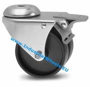 Drejeligt hjul bremse, Ø 75mm, Polypropylen Hjul, 100KG