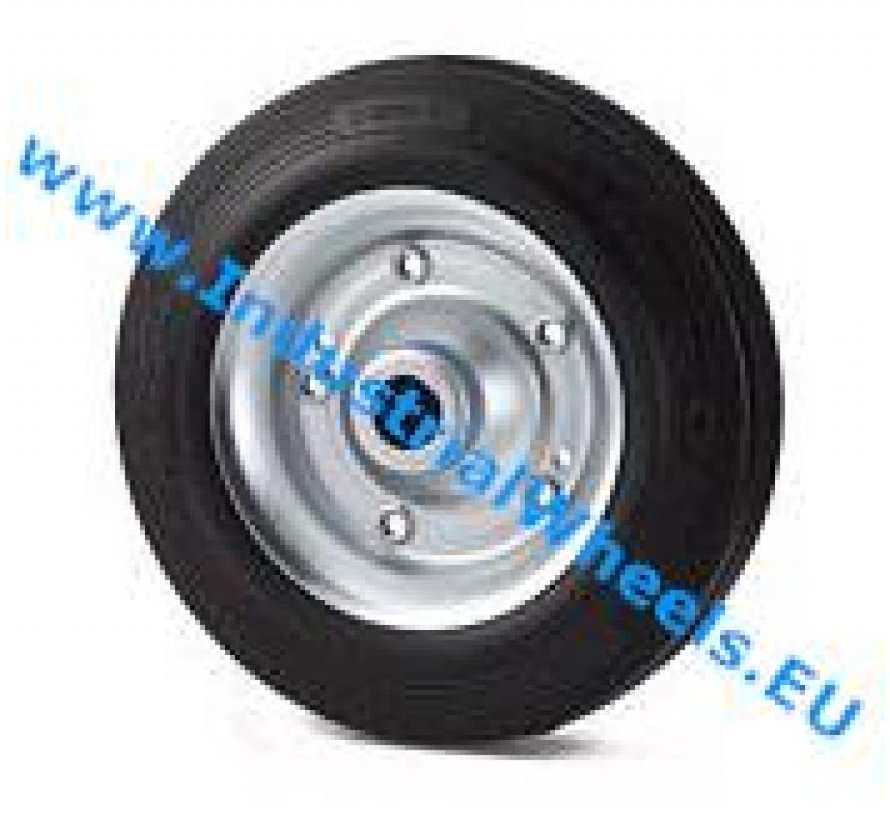 Industrial Wheel from rubber, black, roller bearing, Wheel-Ø 200mm, 250KG