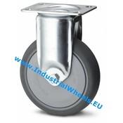 Fast hjul, Ø 80mm, grå termoplastisk gummi afsmitningsfri, 100KG