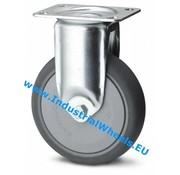Roulette fixe, Ø 80mm, caoutchouc thermoplastique gris non tachant, 100KG