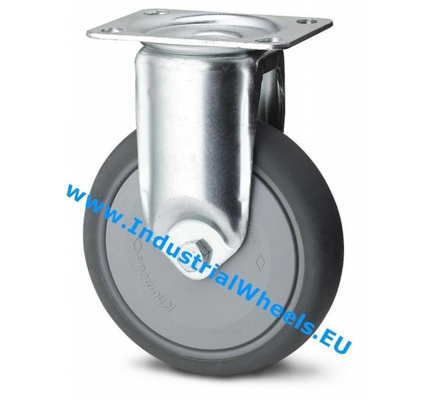 Institutional Fixed caster from pressed steel, plate fitting, thermoplastic rubber grey non-marking, precision ball bearing, Wheel-Ø 80mm, 100KG
