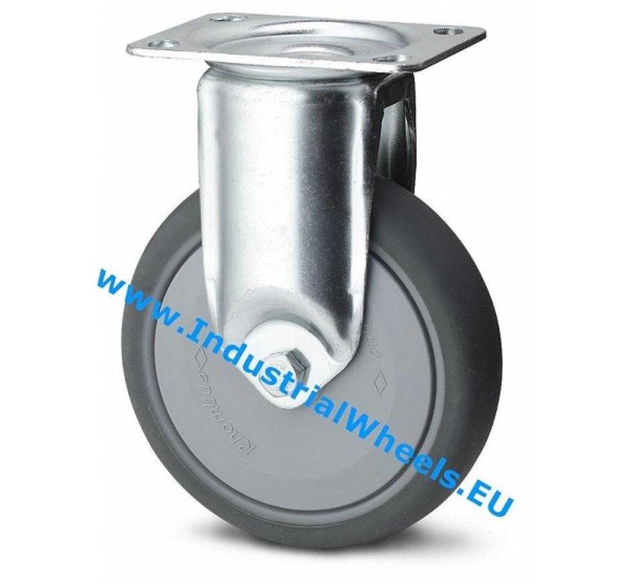 Roulettes pour collectivités Roulette fixe de acier embouti, Fixation à platine, caoutchouc thermoplastique gris non tachant, roulements à billes de précision, Roue-Ø 80mm, 100KG