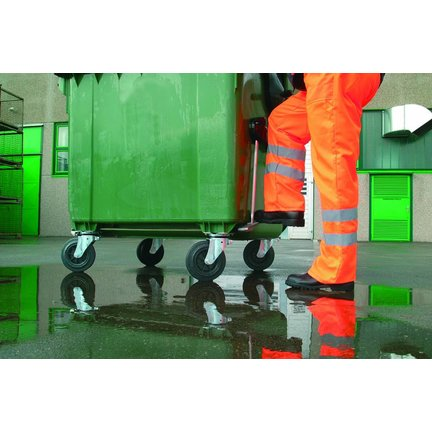4-kołowe kółka do kontenerów na śmieci zgodne z PAH i REACH (EN840-5 i RAL 951 / 1-2) dla najwyższej zwrotności