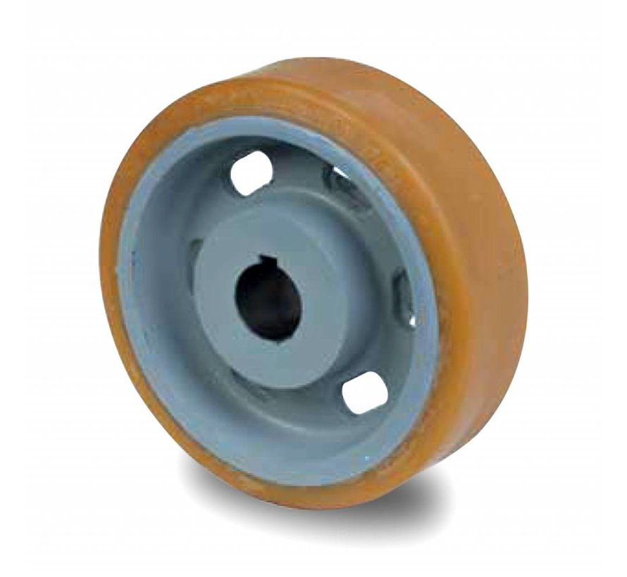 heavy duty drive wheel Vulkollan® Bayer tread cast iron, H7-bore, Wheel-Ø 250mm, 180KG