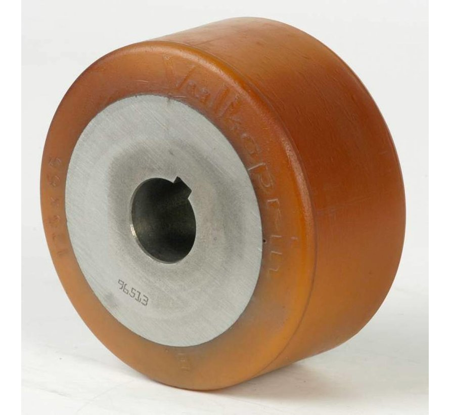 heavy duty drive wheel Vulkollan® Bayer tread cast iron, H7-bore, Wheel-Ø 125mm, 80KG