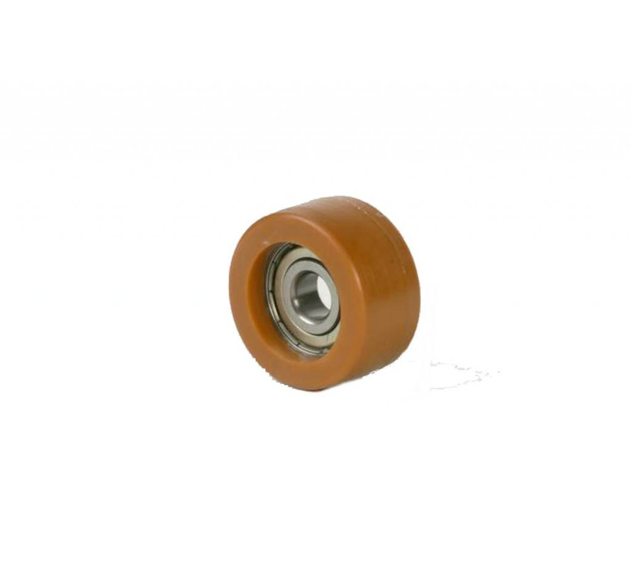 Printhopan rolos orientadores superfície de rodagem  Vulkopan núcleo da roda de aço, rolamento rígido de esferas, Roda-Ø 22mm, 250KG