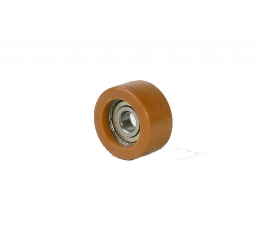 Printhopan rolos orientadores superfície de rodagem  Vulkopan núcleo da roda de aço, rolamento rígido de esferas, Roda-Ø 18mm, 300KG
