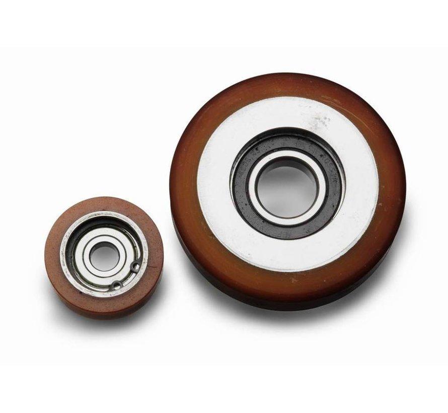 Vulkollan® Fuhrungsrollen Vulkollan® Bayer  Lauffläche Radkörper aus Stahl, Präzisionskugellager, Rad-Ø 90mm, 150KG