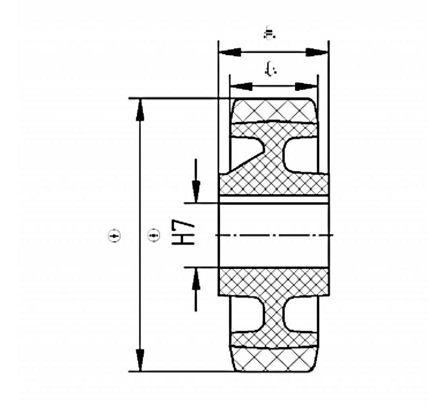 Schwerlast Räder und Rollen Antriebsräder Vulkollan® Bayer  Lauffläche Radkörper aus Gußeisen, H7-Bohrung, Rad-Ø 230mm, 100KG