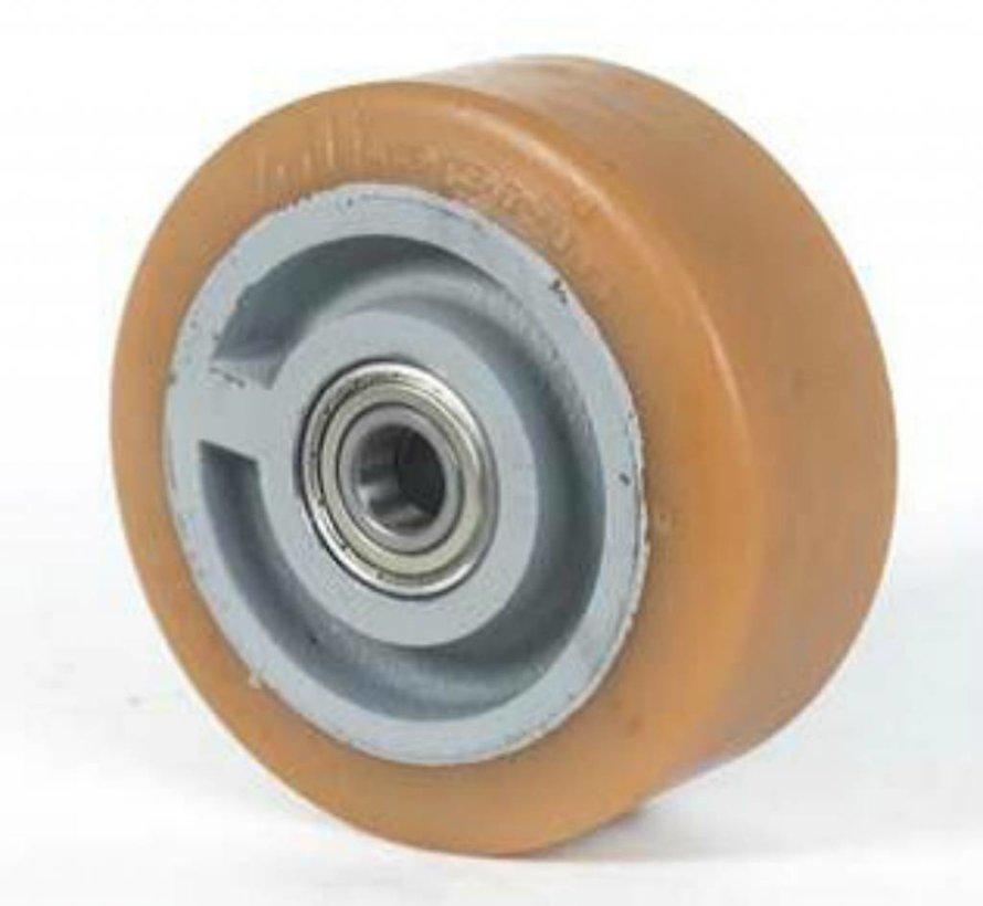 Hårde hjul Vulkollan® Bayer hjulbane støbegods, DIN-kugleleje, Hjul-Ø 360mm, 40KG